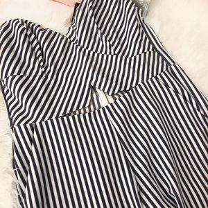 6b6d871194c Fashion Nova Pants - Harbor Island Culotte Jumpsuit - White Blue